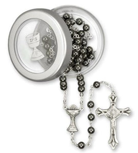 Rosary-5mm hematite with Chalice Box