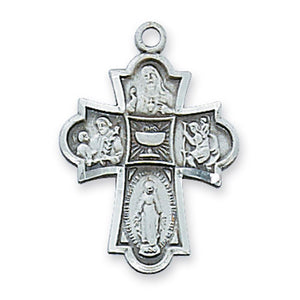 "Sterling Silver 4-Way First Communion Medal, 18"" chain"