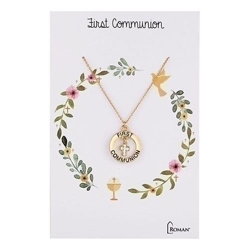 First Communion Necklace with Crystal Cross, 16