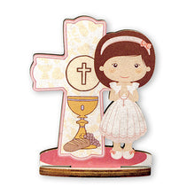 Load image into Gallery viewer, First Communion Wood Statuette, 3.5""