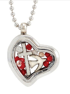 Charm-filled Glass Heart Locket-30""