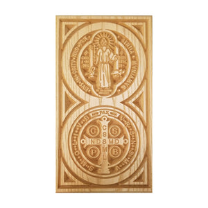"Solid Oak St. Benedict Wooden Plaque, 8.5"" x 15"""
