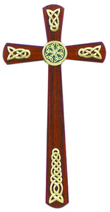 "Cross - 12"" Real Walnut - Rosewood Veneer - Celtic Adornments & Crystals"