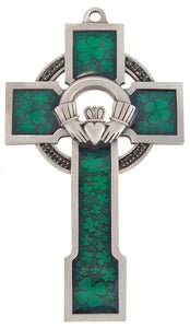 "Cross - 5"" Celtic with Claddagh - Green Enamel and Pewter"
