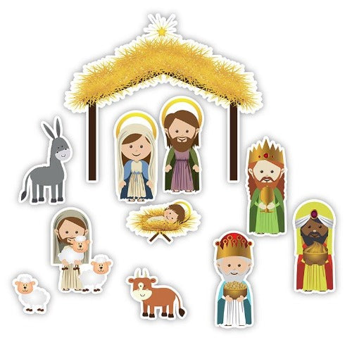NATIVITY MAGNET SET - JUMBO - 11 PC
