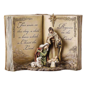 HOLY FAMILY FIGURE - OPEN BIBLE BACKROUND - 12""