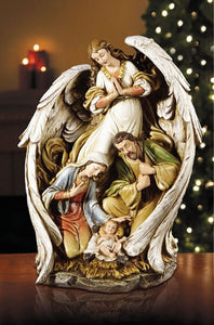 "NATIVITY FIGURE -  ANGEL WRAPPING HER WINGS AROUND - 15"" RESIN"