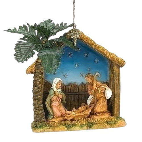 ORNAMENT - HOLY FAMILY - STABLE & PALM TREE