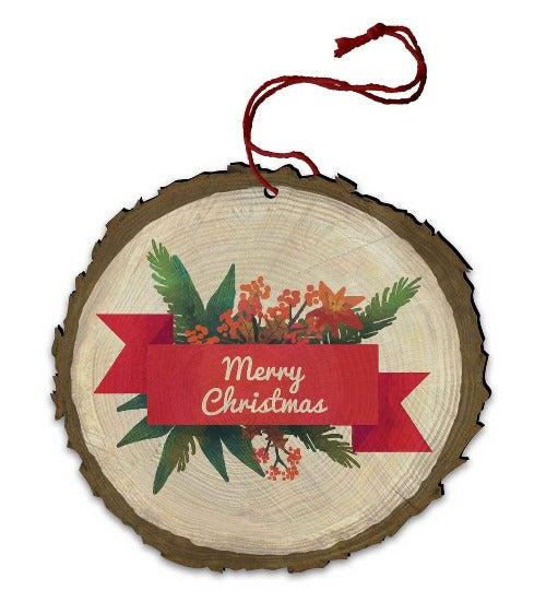 ORNAMENT - VINTAGE MERRY CHRISTMAS - WOOD
