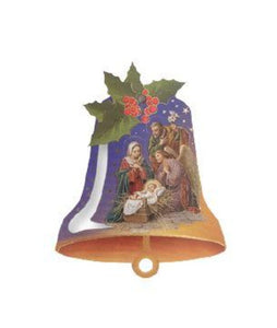 "ORNAMENT -5"" BELL SHAPE-CHRISTMAS SCENES"
