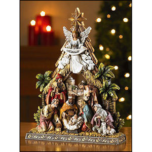 "NATIVITY - ONE PIECE, 8 FIGURES - 10.5"" - STONERESIN"