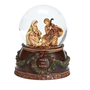 "MUSICAL GLITTERDOME - NATIVITY  - PLAYS ""THE FIRST NOEL"" - ORNATE BASE"