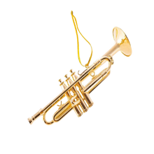 "Load image into Gallery viewer, Ornament - Trumpet - 4.5"" Gold Tone"