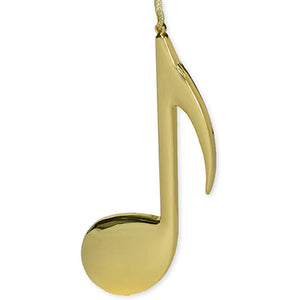 ORNAMENT-8TH NOTE -GOLD TONE 5""