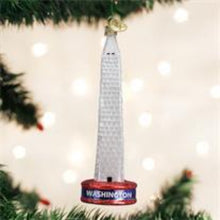 Load image into Gallery viewer, ORNAMENT-WASHINGTON MONUMENT - BLOWN GLASS WITH SPARKLES