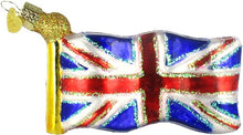Load image into Gallery viewer, Ornament - Union Jack Flag - Blown Glass with Sparkles