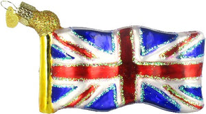 Ornament - Union Jack Flag - Blown Glass with Sparkles
