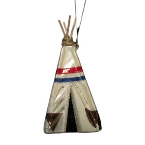 NATIVE AMERICAN TEEPEE ORNAMENT-BLOWN GLASS WITH SPARKLES
