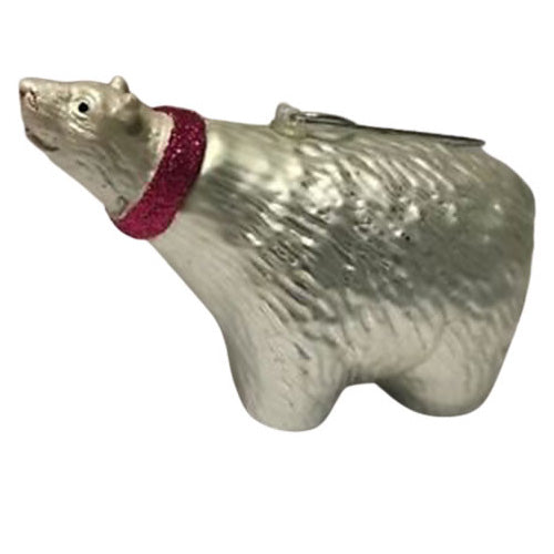 Ornament - Polar Bear with Pink Sparkle Scarf - Blown Glass
