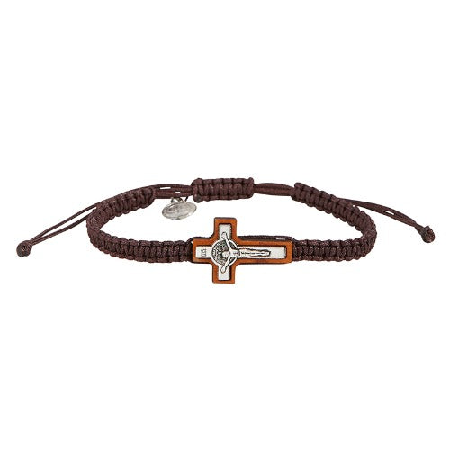 Bracelet - St Benedict Crucifix /Medal - Brown Cord