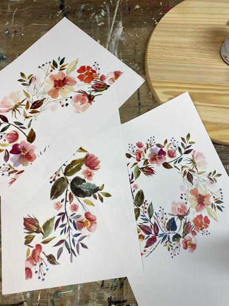 Watercolor Wreath PDF FILE for Barnwood Tray