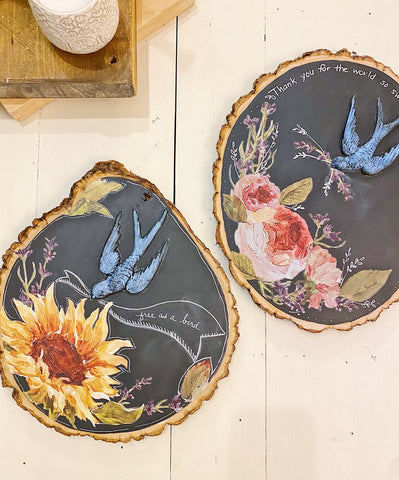 Rustic Floral Wood  Slice with IOD Thursday, March 25th 6:00pm