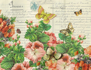 monahan paper- BOT58 pink pansies with butterflies