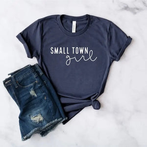 Small town girl tee Navy
