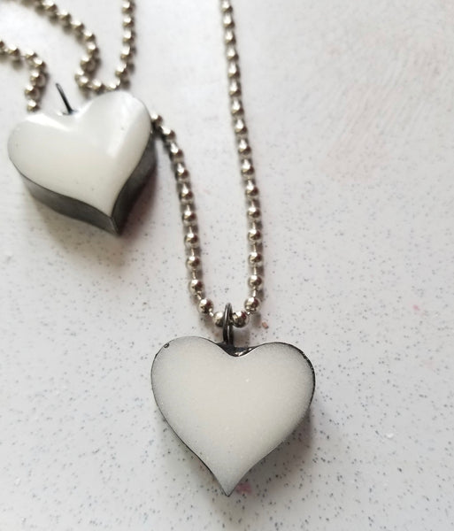 Hand crafted Solder and Resin Heart necklace
