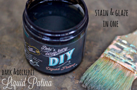 debi's DIY dark and decrepit liquid patina