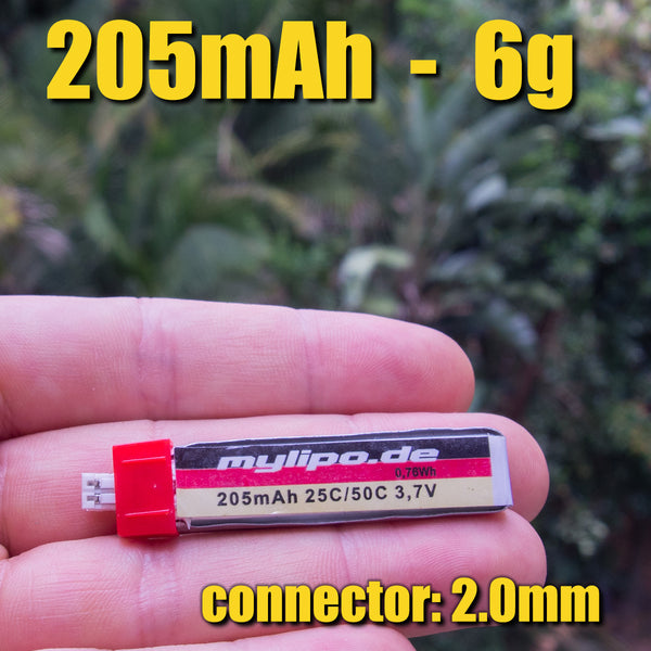 mylipo 205mAh/25C 1S (6.0g) - PH2 connector