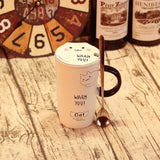 Cute Cat Pattern Mug With Cover & Spoon - Le Kolibri Gift Ideas Reusables Ecofriendly Ecoconscious Environment Stylish