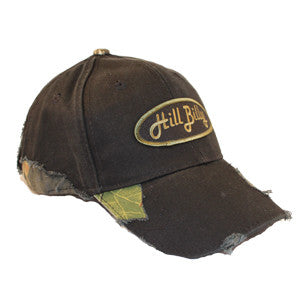 Frayed Black Mossy Oak Camo Hat