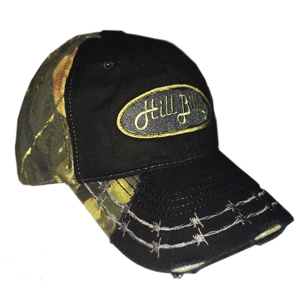 Black barbed wire camo trucker hat