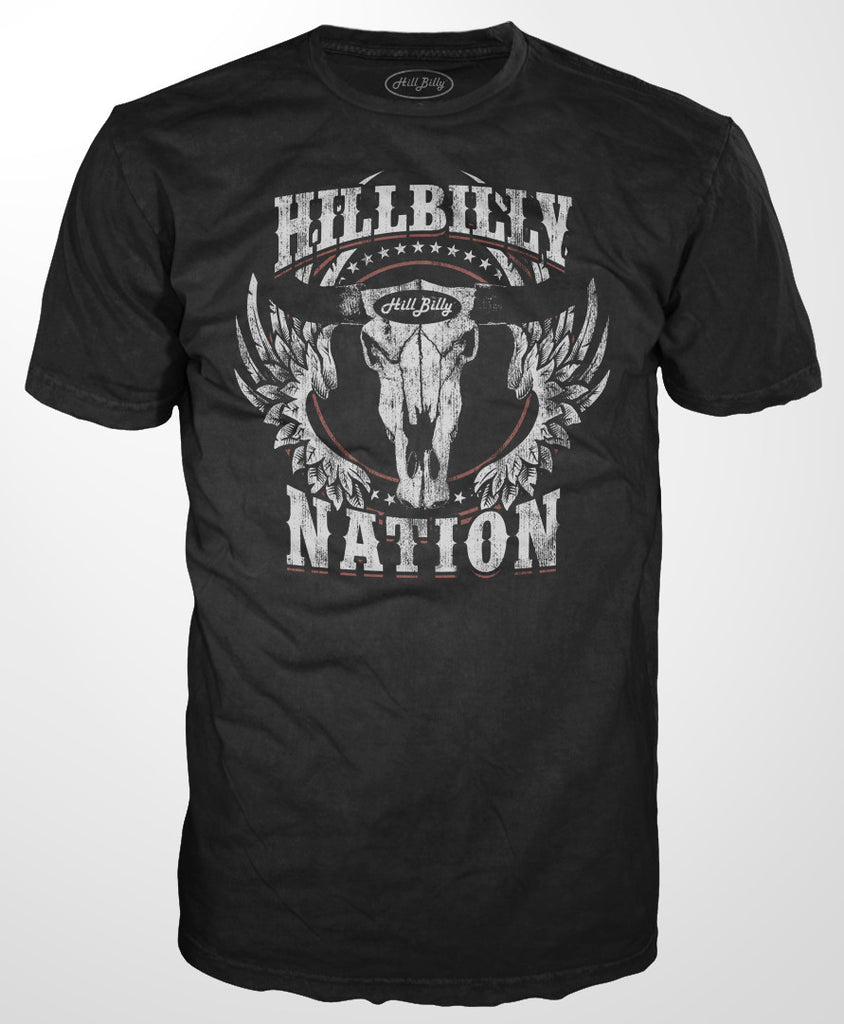 Men's HillBilly Nation Steer Skull T-Shirts