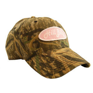 Mossy Oak Shadow Grass HillBilly Camo Trucker Hat with Pink Patch