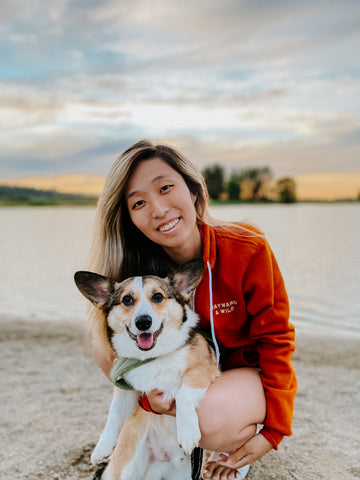 Ambassadors Korgo the corgi and his human mom Jane out enjoying the outdoors in Washington and is wearing the Back To The Wild zip up