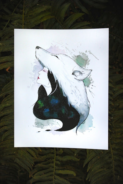 Wolf and Woman Art Print