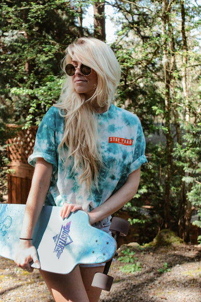 Stay Rad White and Teal Tie-Dye Tee