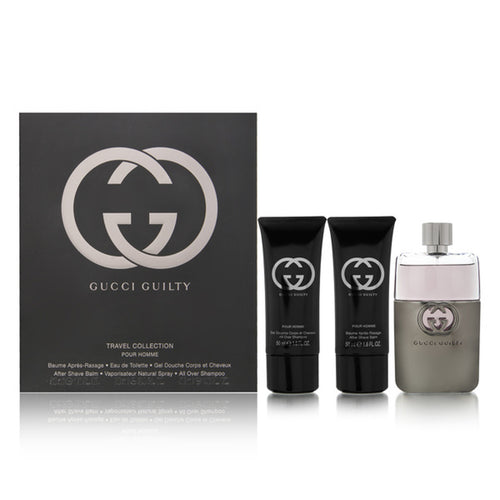 Gucci Guilty 3PCS Gift Set - 90ML EDT Spray + 50ML After Shave + 50ML Shower Gel (Men)