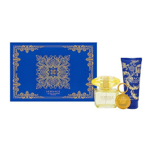 Versace Yellow Diamonds Intense Gift Set - 90ML EDT Spray + 100ML Body Lotion + Key Chain (Women)