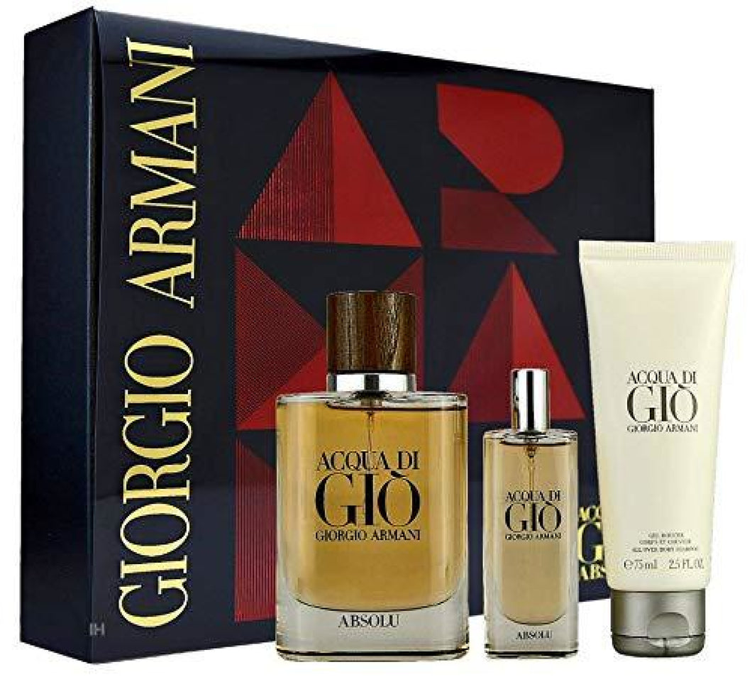 Giorgio Armani Acqua Di Gio Absolu 3 Pcs Gift Set - 75Ml Edp Spray + Shower Gel 15Ml Mini Travel