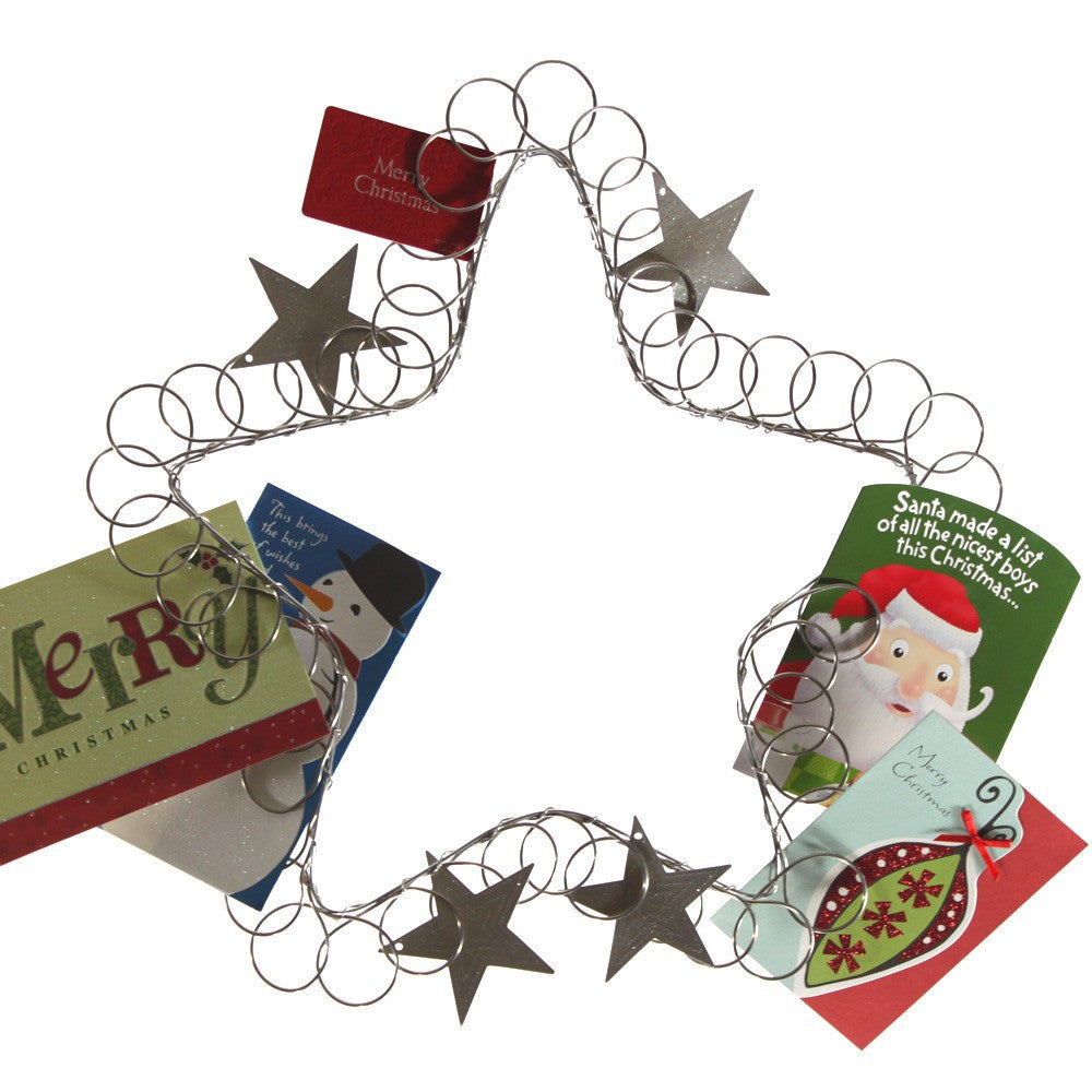 Wire Star Christmas Card Holder