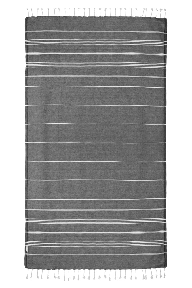 Basic Black Turkish Towel Image 6