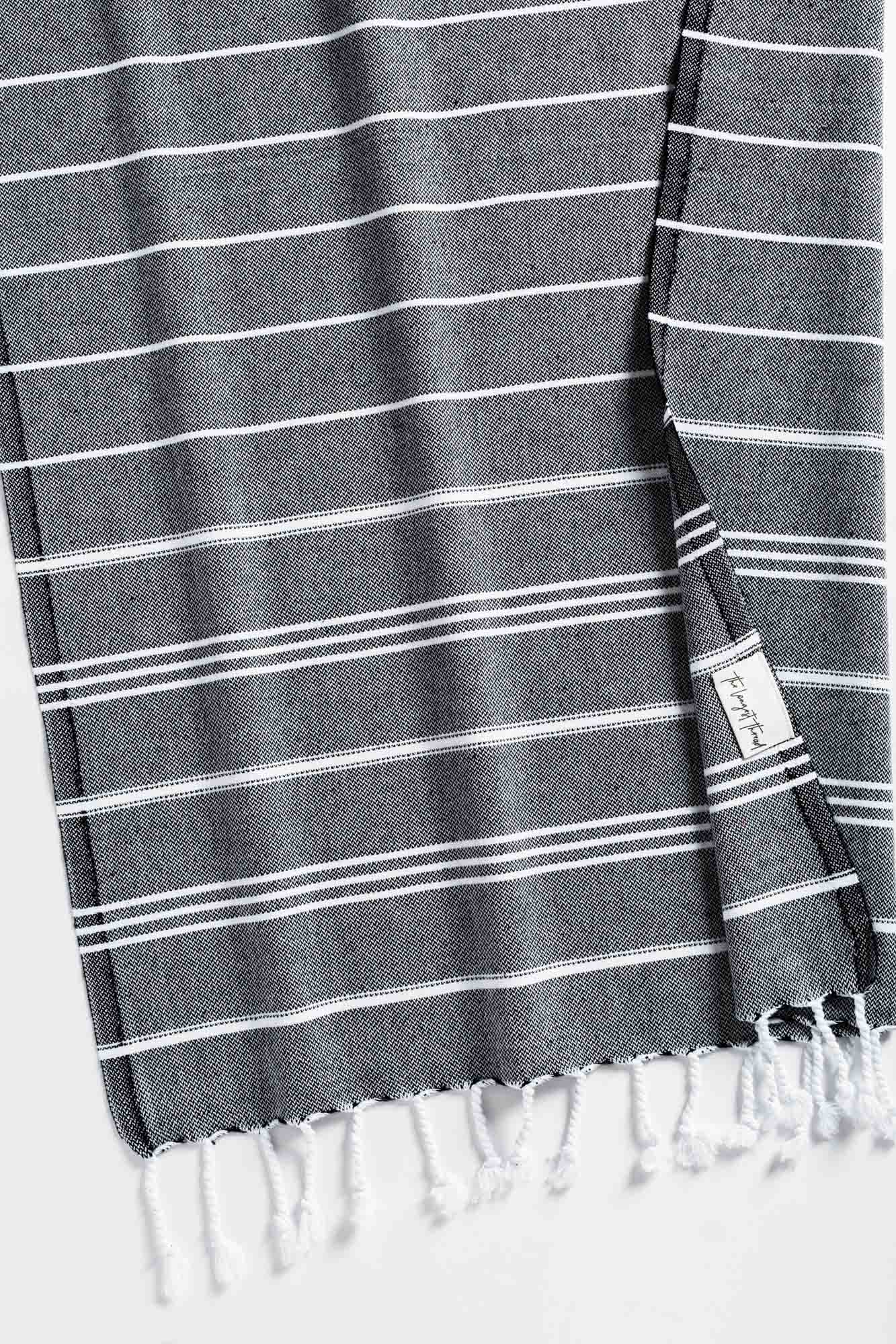 Basic Black Turkish Hand Towel Image 1