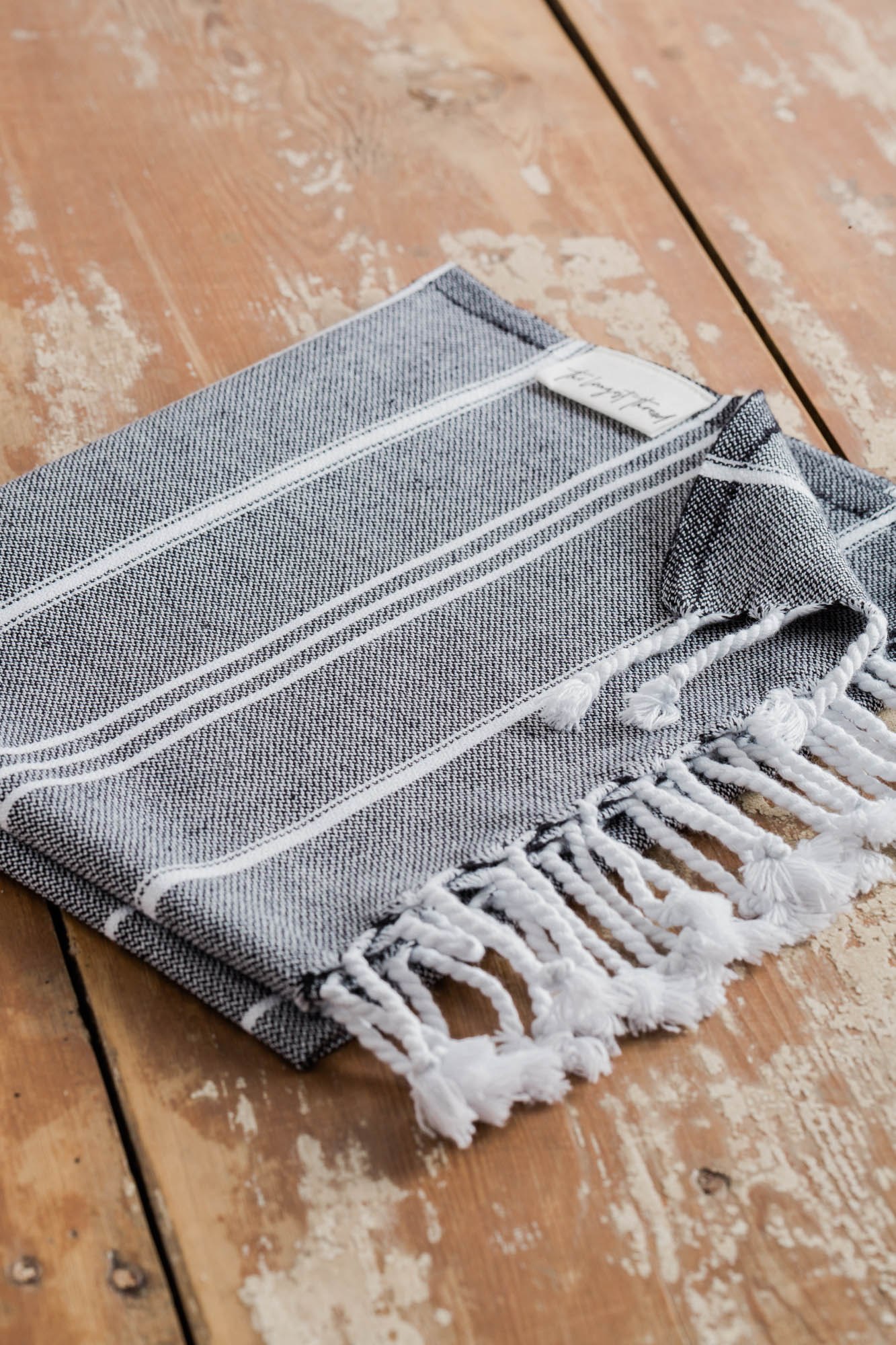 Basic Black Turkish Hand Towel Image 2