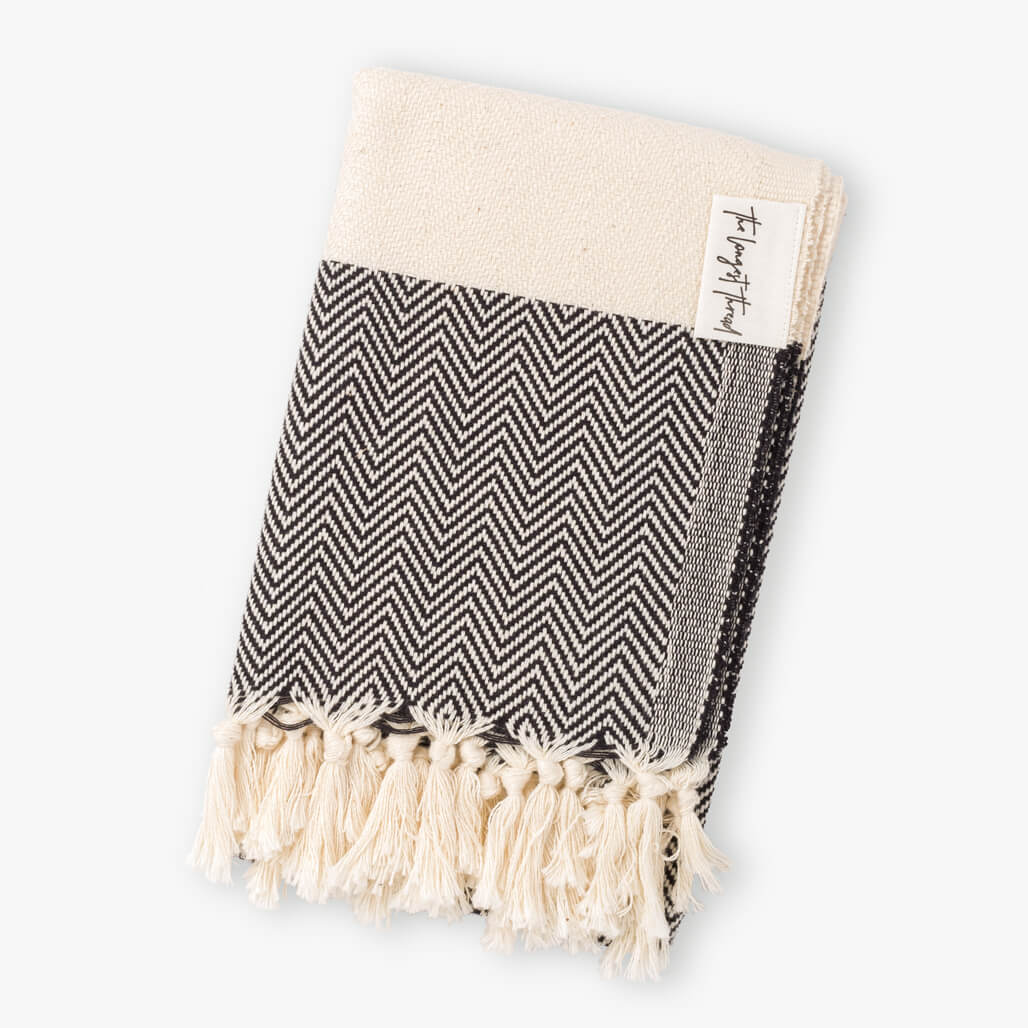 Herringbone Black Hand Towel