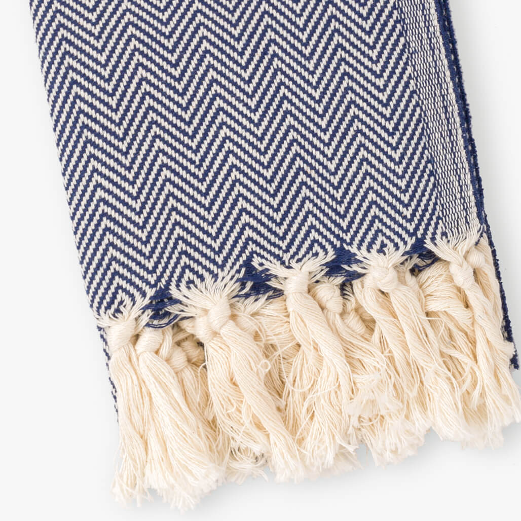 Herringbone Navy Turkish Hand Towel Image 3