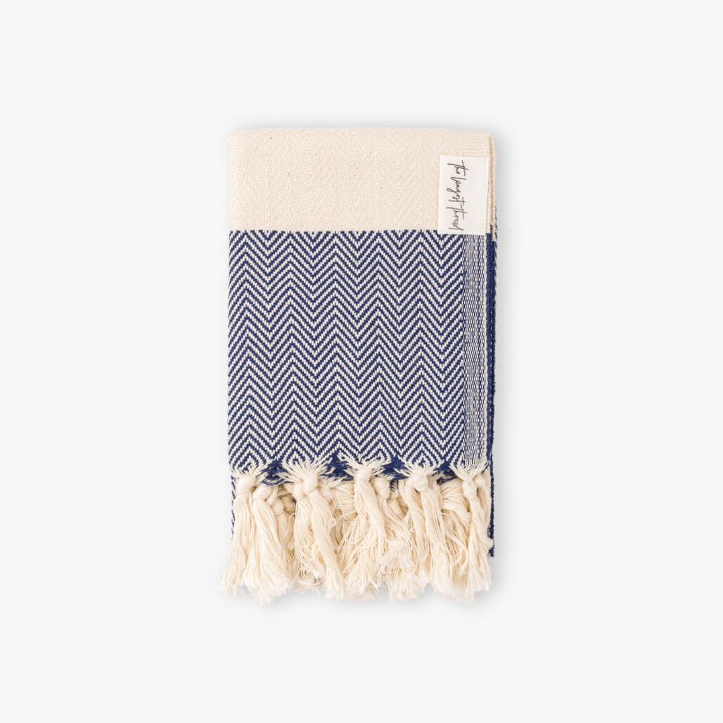 Herringbone Navy Turkish Hand Towel Image 1