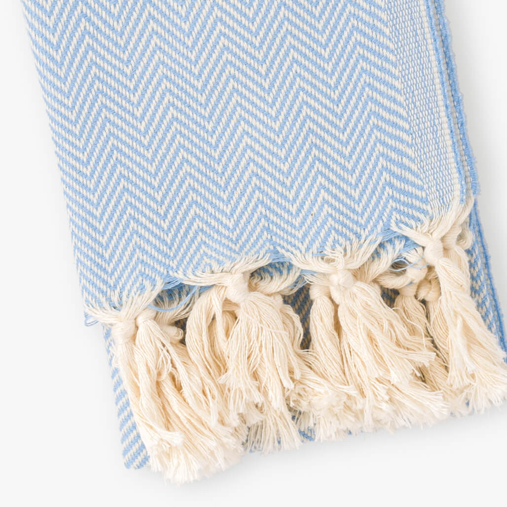 Herringbone Blue Hand Towel
